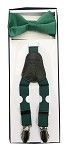 2Pcs Boy's Suspender Set Y-Back Emerald (Suspender/Bow)