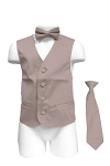 VS1010 Boy's Plain Satin Vest, Tie & Bowtie 3pcs Set Pearl Pink