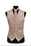 VS1010 Solid SLIM FIT Plain Satin Vest Tie Hanky Set Pearl Pink