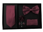 5pcs Gift Set Burgundy (Slim Tie, Bow, Hanky, Lapel & Cufflinks)