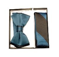 Polyester Satin Dual Colors Bowtie Blue Saphire / Black with Hanky (244335)