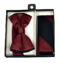 Polyester Satin Dual Colors Bowtie Burgundy / Black with Hanky (244318)