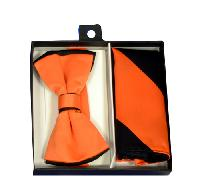 Polyester Satin Dual Colors Bowtie Orange / Black with Hanky (244317)