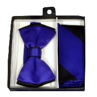 Polyester Satin Dual Colors Bowtie Purple / Black with Hanky (244319)