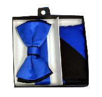 Polyester Satin Dual Colors Bowtie Royal Blue / Black with Hanky (244333)