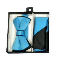 Polyester Satin Dual Colors Bowtie Turquoise / Black with Hanky (244316)