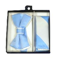 Polyester Satin Dual Colors Bowtie Light Blue / White  with Hanky (244351)