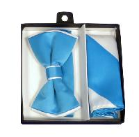 Polyester Satin Dual Colors Bowtie Turquoise / White with Hanky (244350)