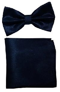 Polyester Metallic Black Bowtie with Hanky