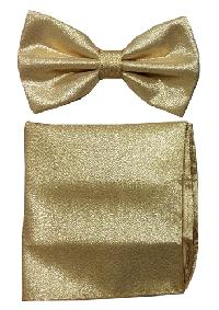 Polyester Metallic Gold Bowtie with Hanky