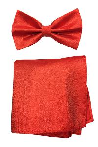 Polyester Metallic Red Bowtie with Hanky