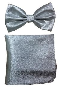 Polyester Metallic Silver Bowtie with Hanky