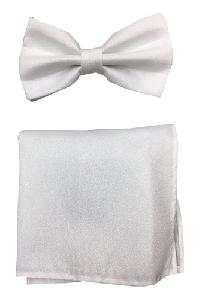 Polyester Metallic White Bowtie with Hanky