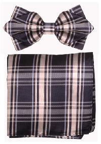 Polyester Pointed Tip Woven Bowtie with Hanky PW10047A