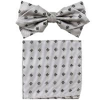 Polyester Pointed Tip Woven Bowtie with Hanky PW10104A