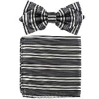 Polyester Pointed Tip Woven Bowtie with Hanky PW10107A