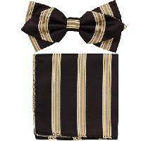 Polyester Pointed Tip Woven Bowtie with Hanky PW10122A