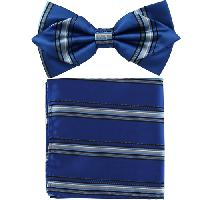 Polyester Pointed Tip Woven Bowtie with Hanky PW10174A