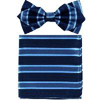 Polyester Pointed Tip Woven Bowtie with Hanky PW10178B