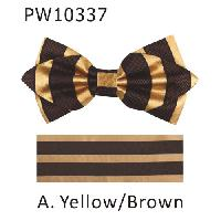 Polyester Pointed Tip Woven Bowtie with Hanky PW10337