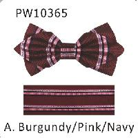 Polyester Pointed Tip Woven Bowtie with Hanky PW10365