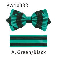 Polyester Pointed Tip Woven Bowtie with Hanky PW10388