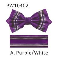 Polyester Pointed Tip Woven Bowtie with Hanky PW10402