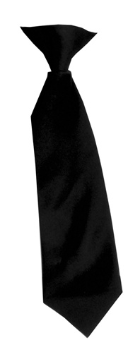 Polyester Boy's Clip on Neck Tie Solid Black