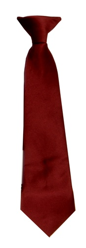 Polyester Boy's Clip on Neck Tie Solid Burgundy