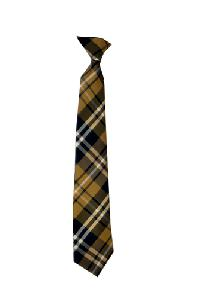Polyester Boy's Clip on Neck Tie Plaid Brown