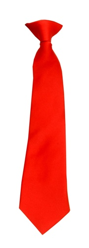 Polyester Boy's Clip on Neck Tie Solid Red