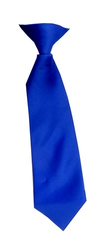 Polyester Boy's Clip on Neck Tie Solid Royal Blue