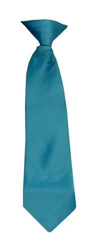 Polyester Boy's Clip on Neck Tie Solid Turquoise