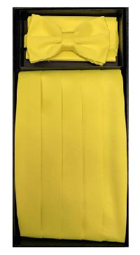 Poly Cummerbund/Bowtie/Hanky Set YELLOW