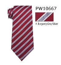 Polyester Necktie Stripe with Handkerchief PW 10667 (Regular or Skinny)