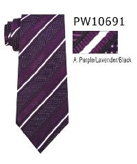 Polyester Necktie Stripe with Handkerchief PW 10691 (Regular or Skinny)