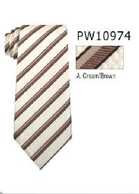 Polyester Necktie Stripe with Handkerchief PW 10974 (Regular or Skinny)