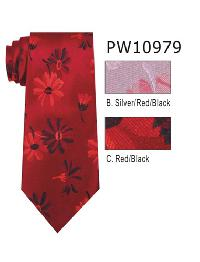 Polyester Necktie Stripe with Handkerchief PW 10979 (Regular or Skinny)