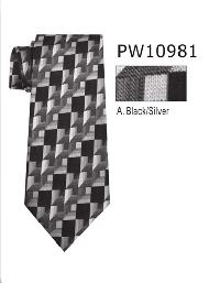 Polyester Necktie Stripe with Handkerchief PW 10981 (Regular or Skinny)