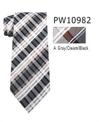 Polyester Necktie Stripe with Handkerchief PW 10982 (Skinny)