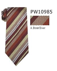 Polyester Necktie Stripe with Handkerchief PW 10985 (Regular or Skinny)