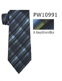 Polyester Necktie Stripe with Handkerchief PW 10991 (Regular or Skinny)