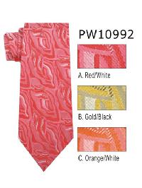 Polyester Necktie Stripe with Handkerchief PW 10992 (Regular or Skinny)