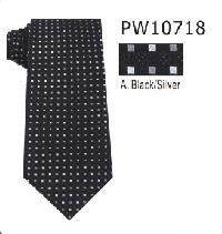 Polyester Regular Necktie Stripe with Handkerchief PW10718