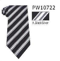 Polyester Regular Necktie Stripe with Handkerchief PW10722