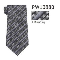 Polyester Necktie Stripe with Handkerchief PW10880(Regular or Skinny)