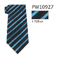 Polyester Necktie Stripe with Handkerchief PW10927(Regular or Skinny)