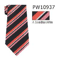 Polyester Necktie Stripe with Handkerchief PW10937(Regular or Skinny)