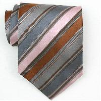 Silk Pink/Grey/Brown Woven Necktie(Item #: SW412-A-L)