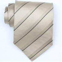 Silk Beige/Blue Extra Long Woven Necktie (Item # : SW427-A-L)